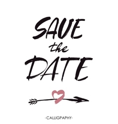 Save the date hand lettering handmade vector image