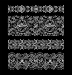 Set of abstract seamless embroidery lace ribbons vector