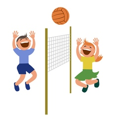 Set of kids playing volleyball vector