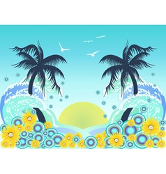 tropical palm tree beach vector image vector image