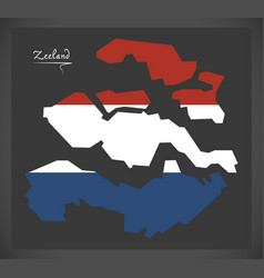 zeeland netherlands map with dutch national flag vector image