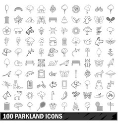 100 parkland icons set outline style vector