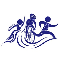 Sport icon for triathlon in blue color vector