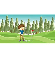A boy playing baseball vector image
