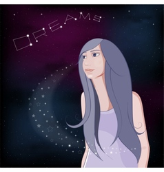 Dreaming girl on night sky background vector