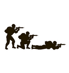 soldiers silhouette set vector image
