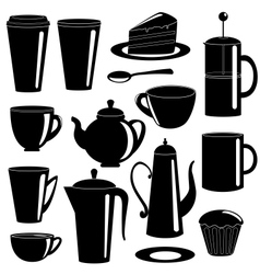 Collection of tea and coffee items silhouettes vector