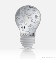 Light bulb with elements of infographics and graph vector