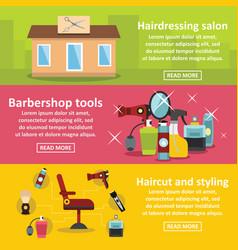 Hairdressing banner horizontal set flat style vector