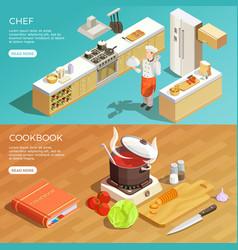 Kitchen cookbook banners set vector
