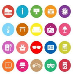 Living room flat icons on white background vector