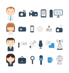 Set of flat colorful journalism icons mass media vector