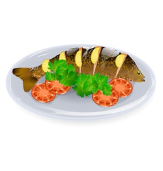 Carp with lemon vector