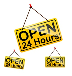 Open 24 hours sign message symbol vector