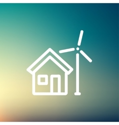 House and windmill thin line icon vector