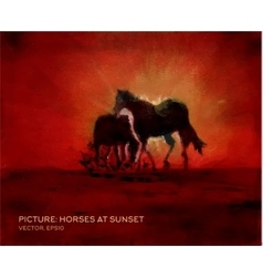 Horses at sunset oil painting on silk in vector