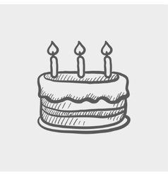 Birthday cake with candles sketch icon vector