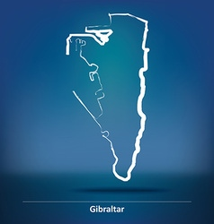 Doodle map of gibraltar vector