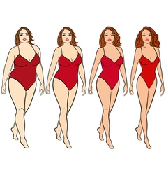 Female on the way to lose weight vector