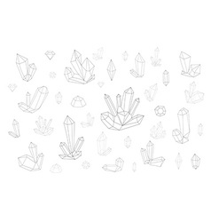 Set 18 fashion crystal monochrome diamonds in vector