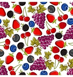 Bright juicy fruits and berries seamless pattern vector
