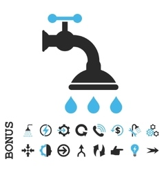 Shower tap flat icon with bonus vector