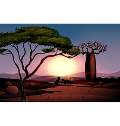 A sunset in the desert with two animals vector image