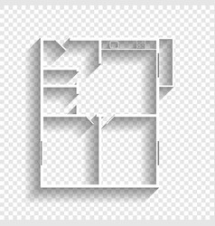 Apartment house floor plans white icon vector