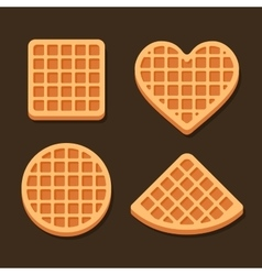 Belgium waffles icon set on dark background vector