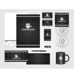 Black corporate identity template for producer vector