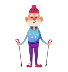 Cartoon old man with walking poles vector
