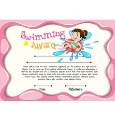 Certificate template with girl swimming vector
