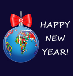 christmas ball with a political map of the world vector image