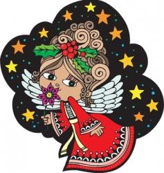 Christmas card angel vector image