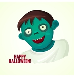 Cute green smiling zombie man vector image