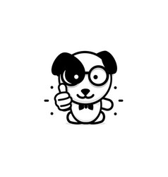 Dogie like isolated pup show thumb up simple vector