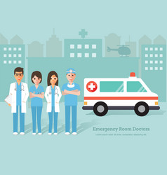 emergency room doctors and nurse vector image vector image