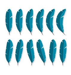 feathers collection icon flat characters in the vector image vector image