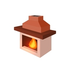 Fireplace icon cartoon style vector