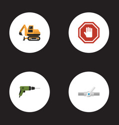 Flat icons electric screwdriver tractor stop vector