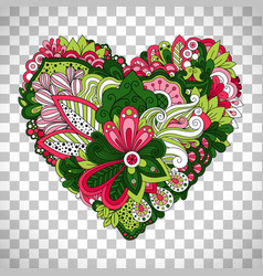 floral heart shape with summer flowers vector image