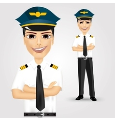Friendly pilot with crossed arms vector