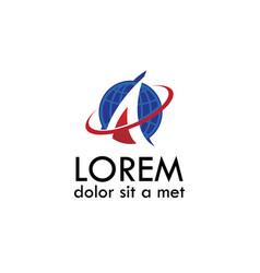 Globe letter a logo vector