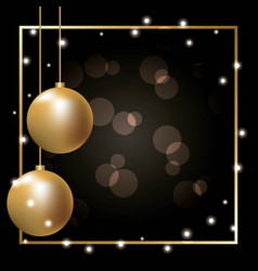 golden ball decoration frame glowing decoration vector image