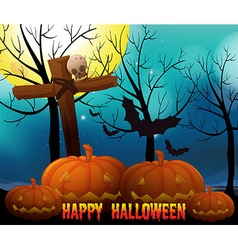 Happy halloween on fullmoon night vector image vector image
