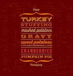 happy thanksgiving menu greeting card vector image vector image