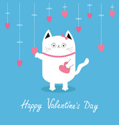 Happy valentines day white cat hanging pink vector