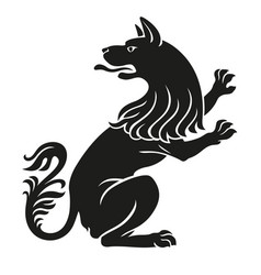 heraldic pet dog or wolf animal rampant vector image vector image