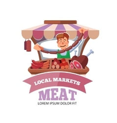 Local market farmer selling fresh meat vector