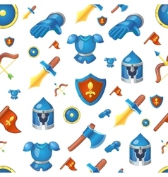 Medieval weapons seamless cartoon background vector